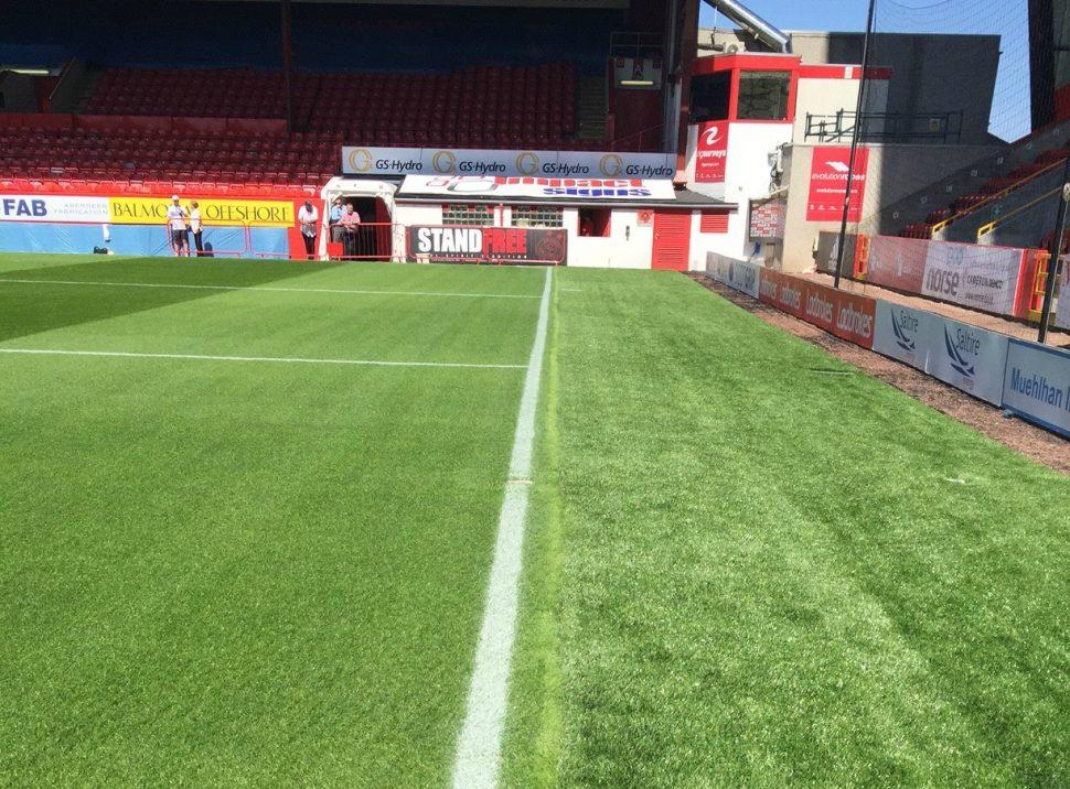 Artificial grass warm up area at Aberdeen FC