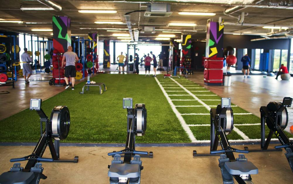 Synthetic grass gyms functional training zones
