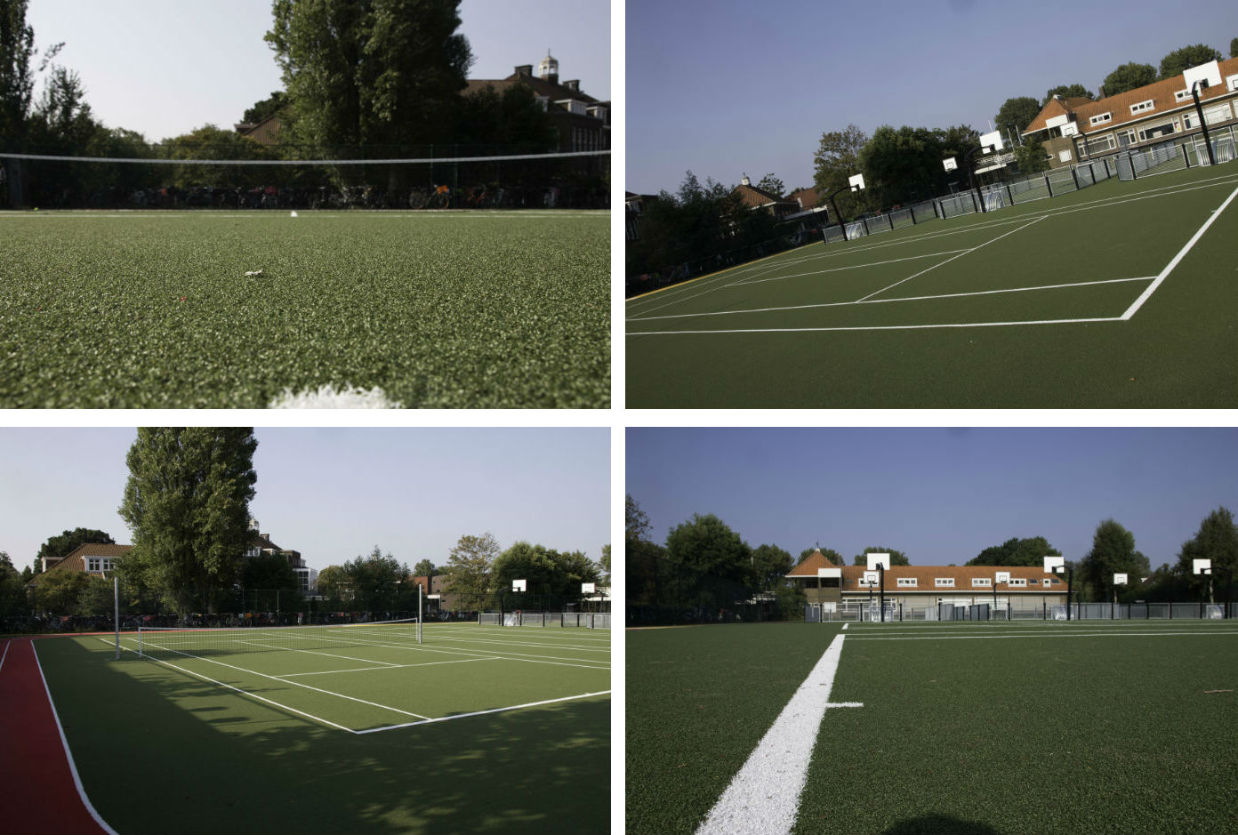 Artificial grass tennis surfaces
