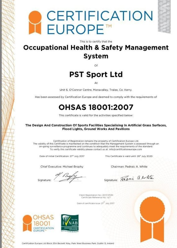 PST Sport Health & Safety Certificate
