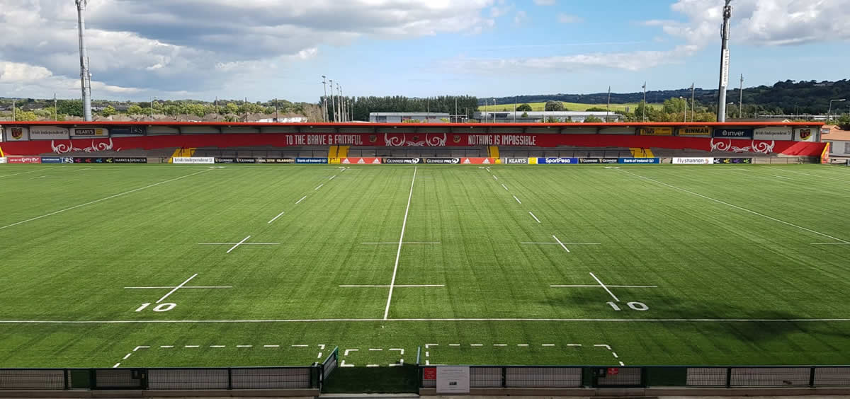 Artificial grass rugby pitch at Munster Rugby's Irish Independent Park